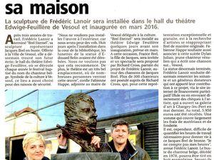 """""""Brel Eternel"""" a trouvé sa maison - sculpture de Frédéric Lanoir - Vesoul - novembre 2015"""