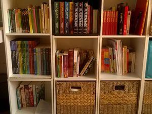 donc voilà mon côté de la chambre l'autre côté c'est celui d'alix mais il est en bordel, ma petite bibliothèque qui comporte un peu plus de 150 livres mais bon ça on s'en fou!