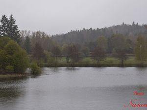 Lac de La Crégut. Lac d'origine glaciaire situé à 850 m d'altitude sur la commune de Tremouille (15270)