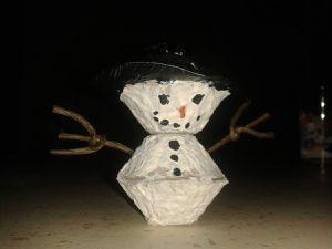 Réalisation d'un bonhomme de neige par les plus grands