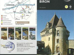 Plaquette de présentation du Château de Biron.