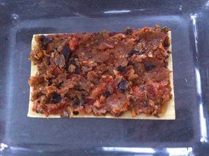 Lasagnes au jambon cru, caviar d'aubergines et mascarpone