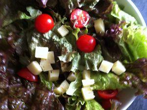 Salade de gésiers, tomme de Savoie et tomates cerises Dukan