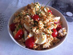 Salade de perles de blés, crevettes et thon