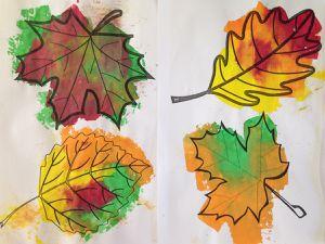 Les feuilles d'automne (encre et éponge)