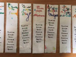Nous avons écrit un message pour nos papas en écriture cursive au crayon gris, nous avons repassé sur les lettres au feutre fin et nous avons gommé les traits de crayon. Puis nous avons collé un poème que nous avons décoré au feutre fin...