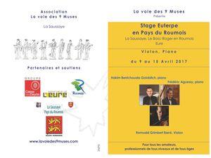 Flyer pour inscription avec programme des concerts du Festival Euterpe 2017
