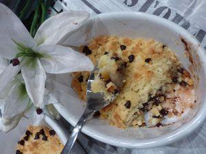 Crumble Pomme Poire et Pépites de Chocolat.