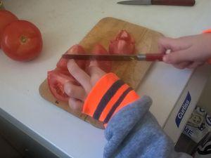 dans une cocotte, faire revenir l'oignon. Puis ajouter les tomates, puis les autres légumes, sel et poivre