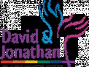 1) couverture du dernier ouvrage de DUEC &#x3B; 2) logo de David & Jonathan, mouvement homosexuel chrétien