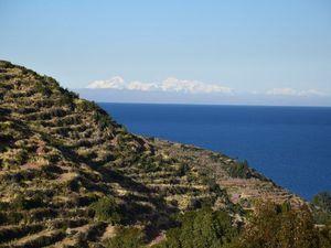 Ces terrasses, au bord du lac Titicaca à gauche et dans le cayon de Colca à droite, ont été photographiées en juillet : dans l'hémisphère Sud, c'est l'hiver hiver.  En cette saison, l'absence de pluie et les températures proches de 0° ne permettent pas leur mise en culture.