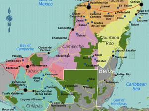 Carte des trois états de la péninsule du Yucatán et tracé de notre itinéraire du jour