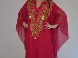 khaledjia en mousseline,décorée avec la peinture et strasses, doublées en coton