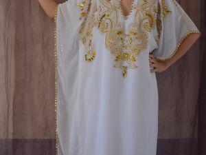 khaledjia en mousseline,décorée avec la peinture et strasses,doublées en coton