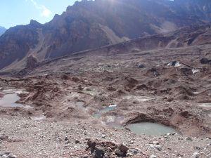 Vue sur le glacier qu'on longera jusqu'au pied de l'Aconcagua !