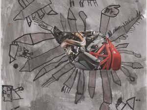 Des éléments découpés dans les magasines sont proposés en vue de les insérer dans un dessin. Les enfants suivent leur imagination pour se raconter des histoires. Atelier périscolaire, Nébian, 2014