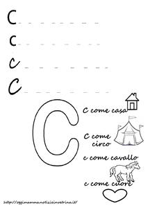 Lettra C come casa, cuore, circo: scrivi e colora la scheda