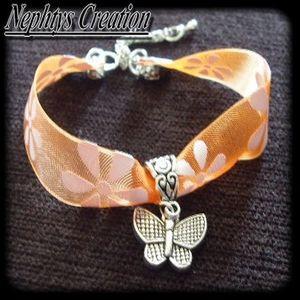 Bracelet liberty orange papillon
