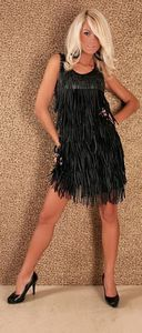 ROBE CHARLESTON PAILLETTES LARGES FRANGES € 28,90 38 40 42