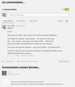 Du nouveau pour les commentaires sur  Overblog Nouvelle plate-forme