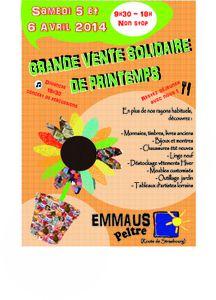Emmaüs Peltre : Grande Vente solidaire de printemps les 5 et 6 avril