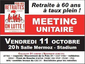 Retraites : Meeting unitaire à Toulouse le 11 octobre