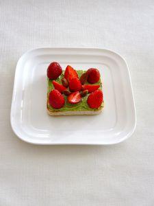 Toast express à la fraise et à la pâte à pistache