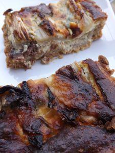 Tarte au confit de canard,fromage de chévre des Pyrénées, sel de Guérande au piment d'Espelette  IG bas