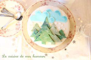 Un gâteau d'hiver: Décor en pâte à sucre