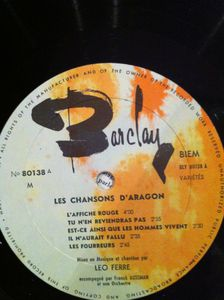 Les chansons d'Aragon chantées par Léo Ferré (1961)