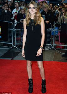 Cara Delevingne in little black dress at the premieres of her film in London
