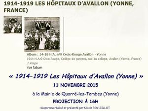 CONFERENCE : HOPITAUX D'AVALLON 1914-1919