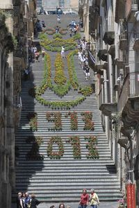 The Grand Design Constituted By thousands of Potted Flowers on a Staircase in Sicily