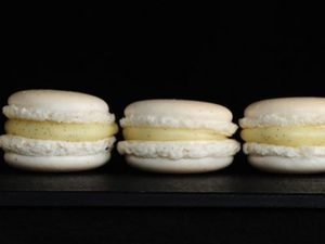 Macaron de vainilla relleno de trufa blanca