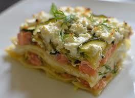 Lasagnes saumon, courgettes gratinées