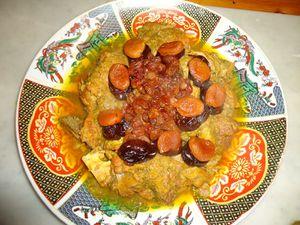tajine de boeuf aux fruits secs (raisins,abricots et pruneaux)
