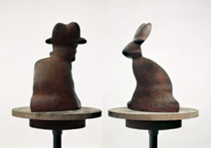 Markus Raetz, Metamorphose, Beuys 1990/91, Iron, 37 x 27 x 13 cm