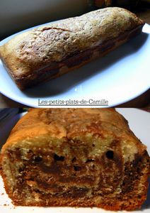 Gâteau marbré praliné vanille
