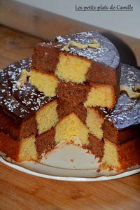 Gâteau damier chocolat-vanille