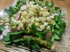 Salade de St Jacques aux fruits de la passion et vinaigre de framboise
