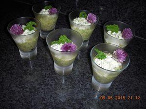 Verrine de concombre au pesto de persil