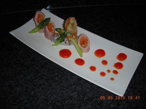 Rouleau de jambon aux carottes crème de champignons