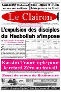 Une du journal Le Clairon du mercredi 08 Mai 2013