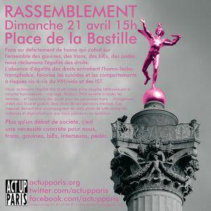 Paris, Bastille : rassemblement pour l'égalité, contre l'homophobie