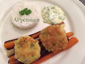 Croquettes de poisson aux crevettes, sauce au yaourt