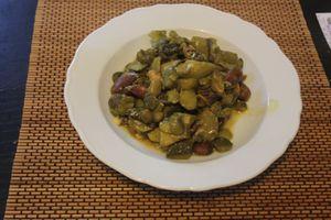 Tajine de fèves courgettes et amandes