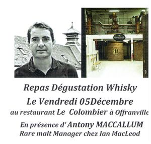 Accord mets et whisky, restaurant le colombier Offranville.