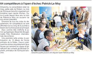 Un article de Ouest-France sur l'open Patrick Le Moy
