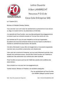 Lettre Ouverte à Ben LAMBRECHT, nouveau P.D.G de Coca-Cola Entreprise SAS