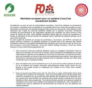 Manifeste européen pour un système Coca-Cola  socialement durable